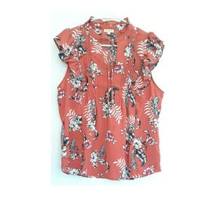 Lily white floral ruffle blouse